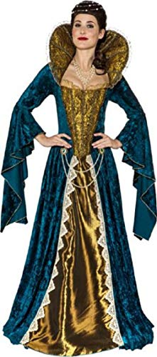 Ladies Deluxe Anne Boleyn Tudor Queen Historical British Royalty Fancy Dress Costume Outfit (UK 6-8 (EU 34/36))
