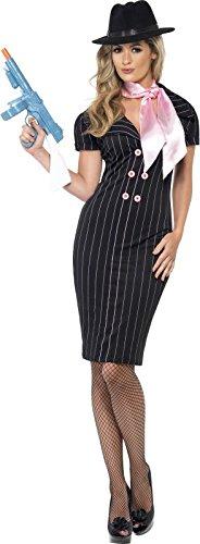 Gangsterbraut Kostüm, mit Nadelstreifen-Bleistiftkleid und Halstuch (Goodfella Kostüm)