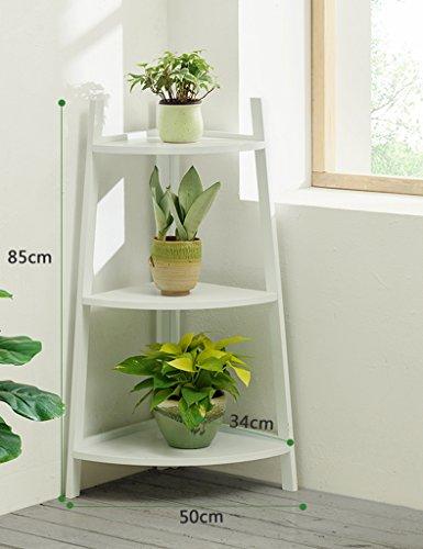 ZCJB Etagères de plantes Coin De Sol Coin De Fleurs Bois Massif Intérieur Bambou Multi-couche Balcon Salon Fleur Pot Pot Rack Scindapsus Fleur Étagère ( Couleur : Blanc , taille : Height 85cm )