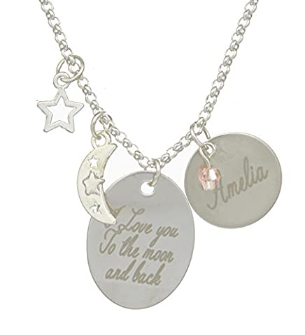 Personalised Love Star & Moon Disc Oval Necklace Silver Plated - Custom Made with Any Names Engraved