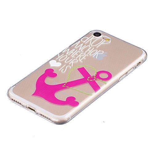 iPhone 7 Hülle, iPhone 7 Case Kreativ Bunt Muster Design Gel TPU Schutzhülle Transparent Soft Handy Tasche Hülle Case Cover Etui TPU Bumper Schale Schützt vor Schmutz und Kratzern für iPhone 7 (4,7 Zo Rosa Anker