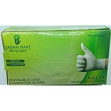 URBAN HAAT Jaipuri Disposable Latex Medical Examination Gloves, Medium -Set of 100 Pieces