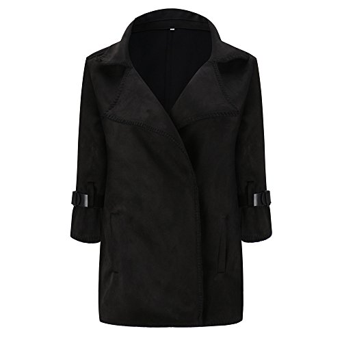 VEMOW Mode Elegant Damen Herbst Winter Windjacke Mantel Tops Oberbekleidung Casual Daily Outdoors Lose Solide Mantel(Schwarz, EU-46/CN-XL)