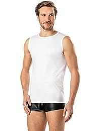 Latex-ähnliches Herren Shirt 0/0 Arm- Vinyl -Tank Top- weiss VERANO