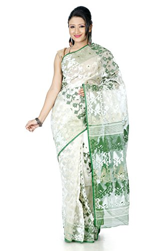 B3Fashion Women's Dhakai Jamdani Saree (Ags354_Offwhite & Green)