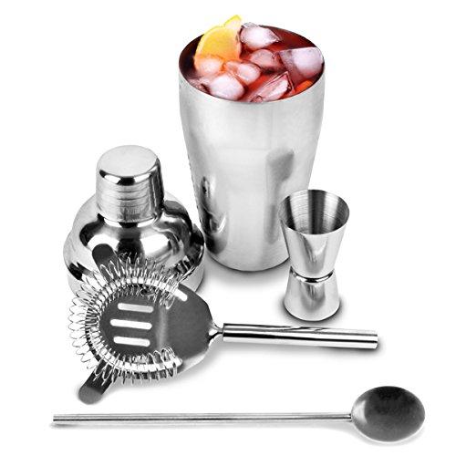 In acciaio inox Cocktail Shaker Set con Mini 200ml Shaker, Strainer , Jigger Measure & Spoon Agitatore | bar@drinkstuff Cocktail Set , Cocktail Kit Attrezzatura