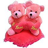 JBTLT ENTERPRISES Soft Toy Couple Teddy Bear On Heart Pillow For Kids (22Cm) (Pink( I Love You)