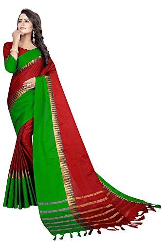 Perfectblue Women's Cotton Silk Saree With Blouse Piece(Redlightgreentample_Red Light Green_Free Size)