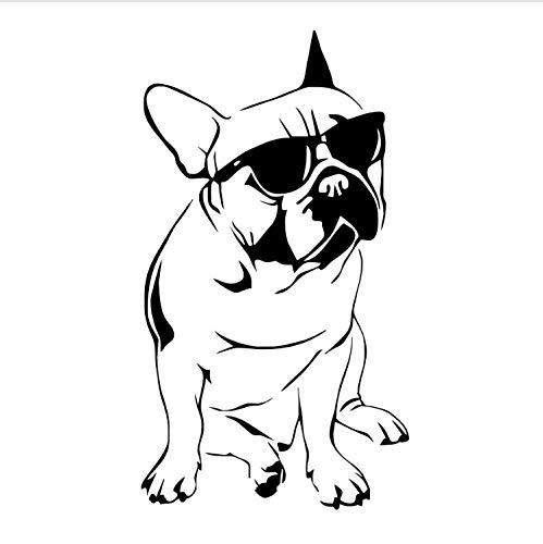 xmydeshoop Schöne Französisch Bulldog Mit Sonnenbrille Wandaufkleber Für Jungen Schlafzimmer Vinyl Tier Kinder Wandtattoo Dekoration 58X104 cm