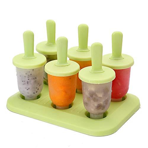 Vektenxi Eisform 6 Grid Kreative DIY Kombination Popsicle Nette Gefrorene Popsicle Eismaschinen Eiswürfel Modell Kochutensilien, Runde Grüne Gelee Langlebig und Praktisch - Grün Gefrorenen Glas