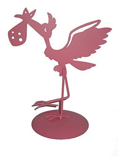 Figura de Pastel Metálica Cigüeña Rosa - Figuras para Bebé Rosas de Metal BabyShower, Tartas, Recién Nacidos, Bautizos