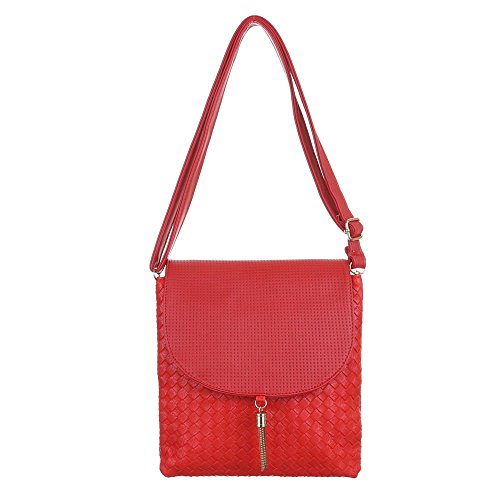 Kunstleder Tasche C248 Perforierte Rot Kleine Damen Umhängetasche TA wpdPnCdIqx