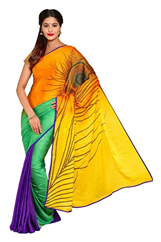 Vipul Women's Branded MULTI & YELLOW Casual Wear Printed Silk Saree ( Bollywood Designer Saree With Designer Blouse Best Gift For Mummy Mom Wife Girl Friend, Exclusive Offers and Sale Discount 2017 )  available at amazon for Rs.197