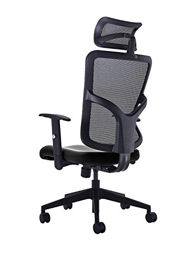 41OJYE0tWkL - Office Hippo High Back Mesh Office Chair with Adjustable Arms and Mesh Headrest, Fabric, Black
