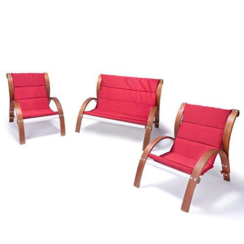 Ampel 24 Der Trampolinspezialist Lounge Gartenmöbel Set Malibu | Relaxsessel & 2er Sofa mit Armlehne, hoher Rückenlehne aus Holz | Gartenstuhl & Gartenbank mit Sitzauflagen rot