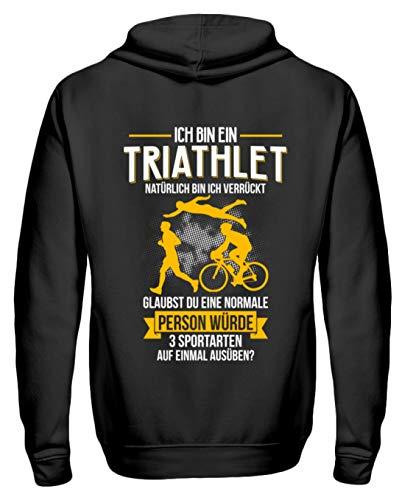 Triathlon Shirt · Geschenkidee für Triathleten · Spruch/Motiv: Ich Bin EIN Triathlet - Zip-Hoodie -XL-Schwarz (Triathlon Hoodie)