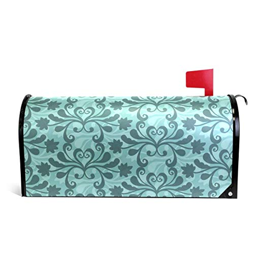 prz0vprz0v Mailbox Covers Magnetic Free Vector Teal Western Flourish Pattern Standard 21 x 18 Inches Waterproof Canvas Mailbox Cover - Western Cover