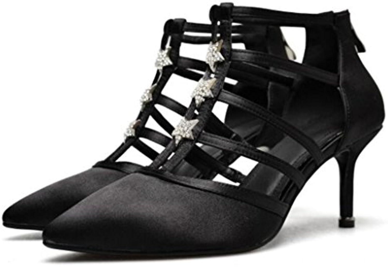 GAOLIXIA Frauen Leder Seide Spitzen High Heels Frühling Sommer Süße hohle Strass Sandalen Mode Stilettos Highö