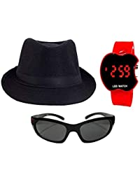 faas Fedora Hat Black & Goggle+led Combo Summer Gift for Boys & Girls Age 5,6,7,8 yrs