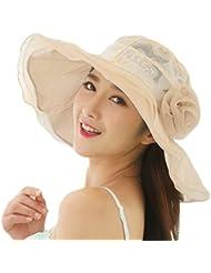 JUNGEN Verano la Moda Encaje Señoras Gorra Visera Tapa Señoras Sombrero Sombrero de playa Beige