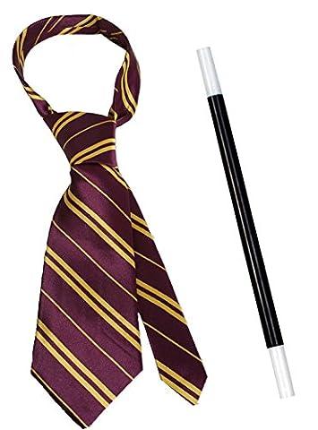 Wizard Lot de déguisement accessoire de costume d'école garçon Cravate + Magicien Baguette magique Tenue