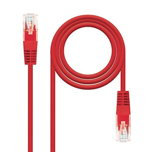 NanoCable 10.20.0100-R - Cable de Red Ethernet RJ45 Cat.5e UTP AWG24, Rojo, latiguillo de 0.5mts