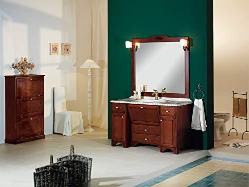 Piesse mobili mobile da bagno classici in legno massello arredo classico arredobagno scarpiera tre ante con lavabo marmo ciotolato specchio