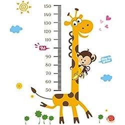Pinzhi - Jirafa Monos y Animales Extraíble Impermeable Adhesivos Altura Gráfico Etiquetas de la Pared Habitación de Niños Bebé para Miedo la Estatura