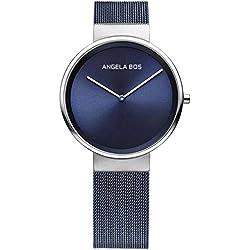 Angela Bos Women's Ultra Thin Simple Stainless Steel Quartz Wrist Watch for Men 8010 Blue