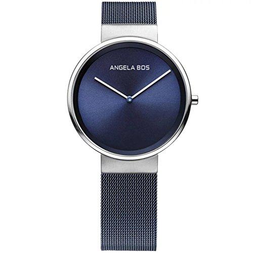 Angela Bos de la mujer ultra delgado Simple acero inoxidable cuarzo reloj de pulsera para hombres 8010azul