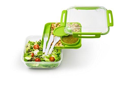Rotho 92001 Salatbox (1,7 Liter, Memory B3, Frischhaltedose mit Besteck für Lunch zum Mitnehmen, Auslaufsicher und unterteilt) grün (Große Getränke-halter)