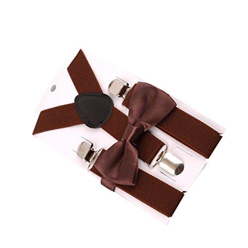 Chinget Kinder Jungen Mädchen Hosenträger Elastisch Einstellbare Braces Clip-On mit Fliege Set (kaffee) (Passende Kostüme Für Jungen Und Mädchen)