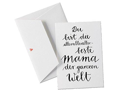 Du bist die allerallerallerbeste MAMA der Welt, Spruch Glückwunschkarte für Mütter, Muttertagskarte oder allgemeine Grußkarte als Dankeschön, zum Muttertag oder Geburtstag, Muttertagsgeschenk klassisch mit Herz - Umschlag