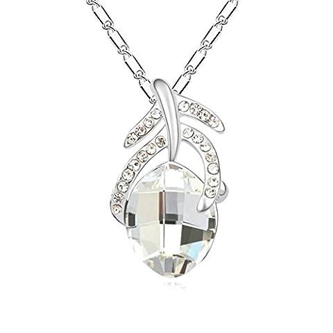 Daesar Gold Plated Women's Bone Teardrop Synthetic Crystal Necklace CZ Zirconia Necklace