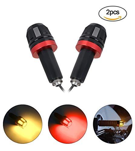 LED Motorrad Blinker, URAQT Mini Motorrad Blinker, 12V 2 in 1 Kombination Blinker für Universal Mortorad, 1 Paar, Gelb und Rot Licht