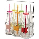 VILLA D'ESTE Juego de 6 Botellas en Varios Colores con Soporte, 21cm