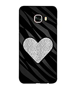 PrintVisa Designer Back Case Cover for Samsung Galaxy C7 SM-C7000 (Artistic Design Of Heart In Silver)