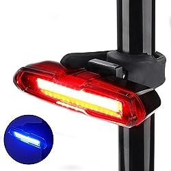 Luz Trasera Landnics para Bicicleta Recargable USB Faro Trasero Impermeable y Super Brillante Rojo Azul Luz LED para Ciclismo, Casco - Modo de Cinco Luces (Rojo sólido/ rojo intermitente / azul sólido / azul intermitente / luz estroboscópica roja-azul alterna)
