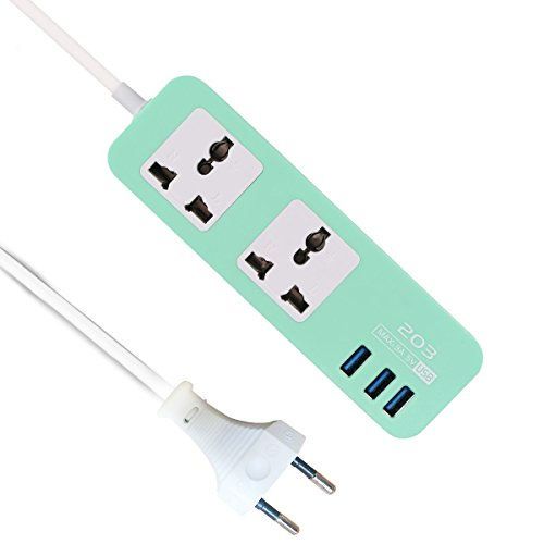 Reise-outlet (BIHAI Multi Port USB Steckdosenleiste, Smart Outlet Switch Stecker mit Netzkabel für Zuhause, Büro, Reisen und andere Gelegenheiten, grün)