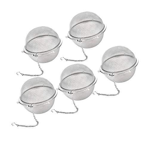 Acciaio INOX colino da t/è a sfera confezione da 6 Infusore da T/è LOOSE Leaf strainer spezie filtro per t/è Catena stile palla piccola Tea filtro Silver