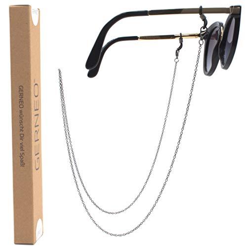 GERNEO - DAS ORIGINAL - Premium Brillenkette & Brillenband in Edelstahl Optik in Schwarz - Unisex für Lesebrille & Sonnenbrille - SOMMER KOLLEKTION 2019