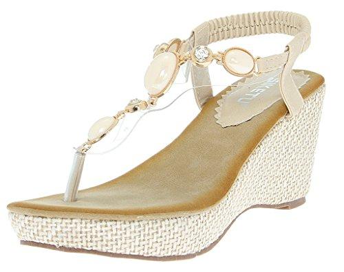 La Vogue Chaussures Eté Sandales Compensées 8CM Femme Fille Décor Perles Blanc