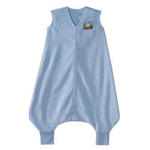 Tragbare Schlafdecke kaufen für dein Baby kaufen - Schlafdecke kaufen kann einfach unter dem Pyjama getragen werden - In Blau mit Zug Bild