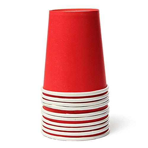 KING DO WAY 10 X Mignon Gobelets Jetables En Papier Carton Vaisselle Fête Décoration Simple-Rouge