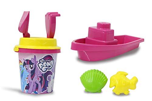 tle Pony Sandeimerset, 7teilig-offiziell lizenziert, Eimer, Schaufel, Handrechen, 2 Förmchen, Boot, Sandsieb, pink ()