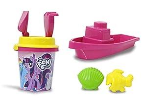 Jamara 410128 My Little Pony - Juego de Cubo y Pala (7 Piezas, 2 moldes, 1 Barco, 1 colador de Arena), Color Rosa