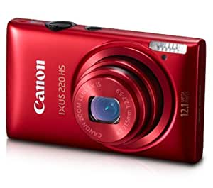 Canon IXUS 220 HS 12.1MP Point-and-Shoot Digital Camera (Red) with Memory Card, Camera Case