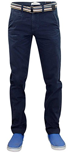 Hommes Designer Kangol Turn Up Pantalon chino Slim Fit Pants Navy