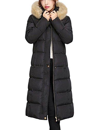 Brinny Damen Mantel Lange Winterjacke Steppjacke Kunstpelz Kapuzen Parka Lang Wintermantel Übergansjacke Mantel Jacke Fellkapuze Warmen Outerwear Fleecejacket, Schwarz, 40 ( L )