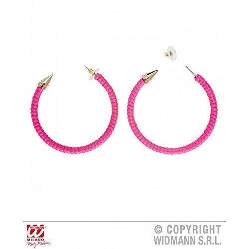 Ohrringe / Kreolen in grellem Pink für 80er oder Discokostüm / (Metall Jahre Kostüm 80er)